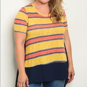 Two tones jersey short sleeve top - Plus Size